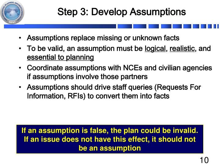Step 3: Develop Assumptions