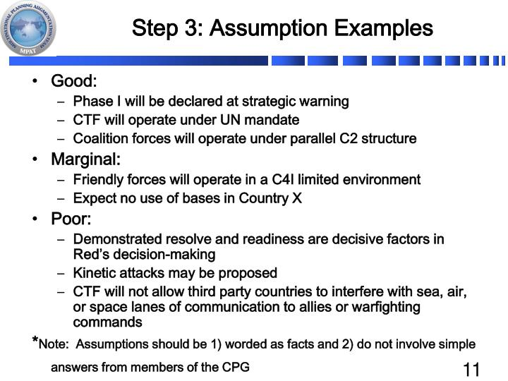 Step 3: Assumption Examples
