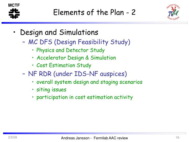 Elements of the Plan - 2