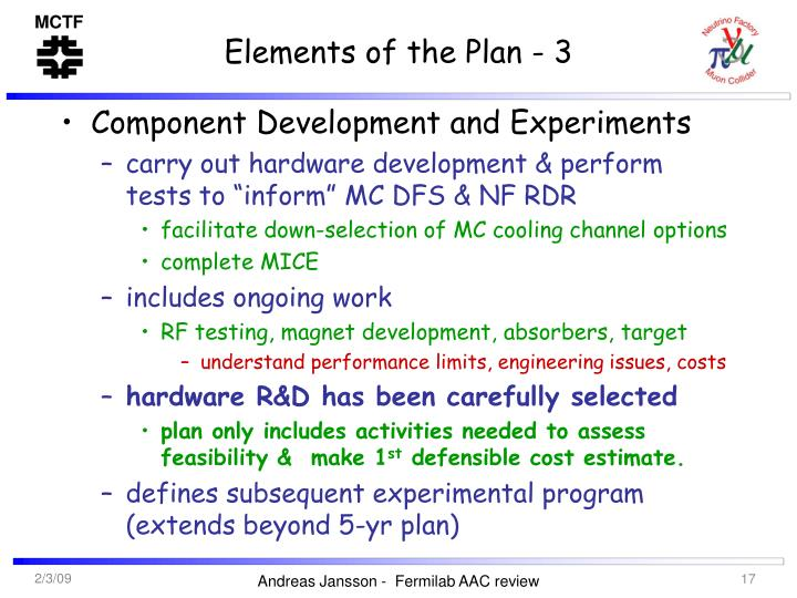 Elements of the Plan - 3