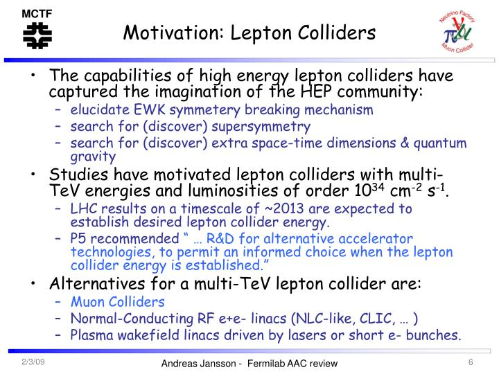 Motivation: Lepton Colliders