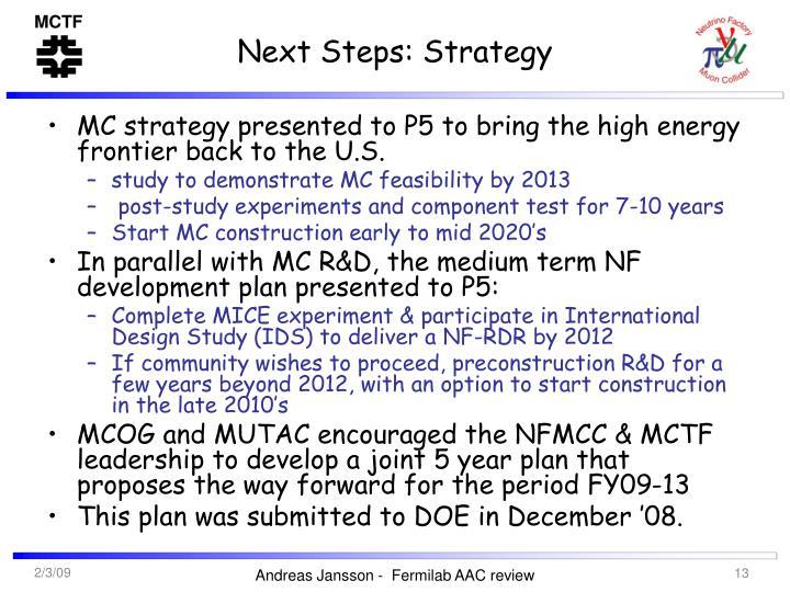 Next Steps: Strategy