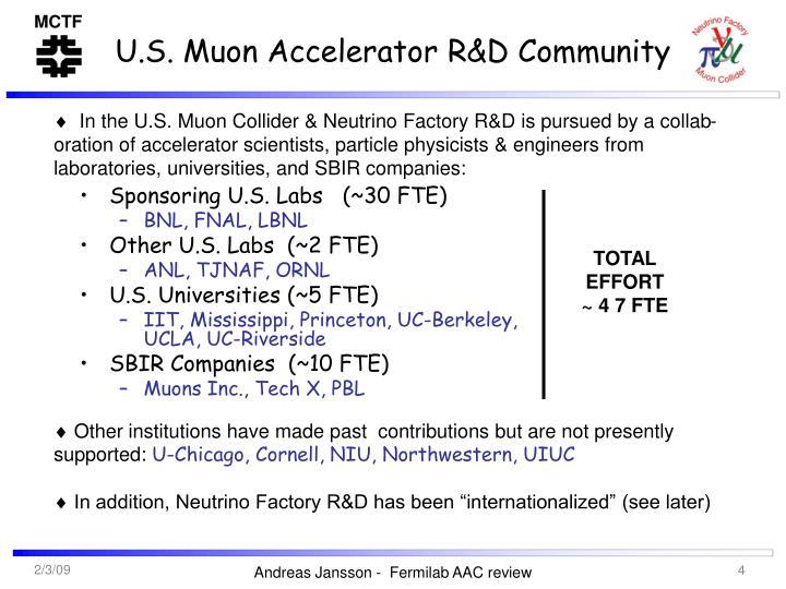 U.S. Muon Accelerator R&D Community