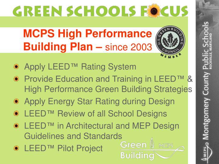 MCPS High Performance  Building Plan –