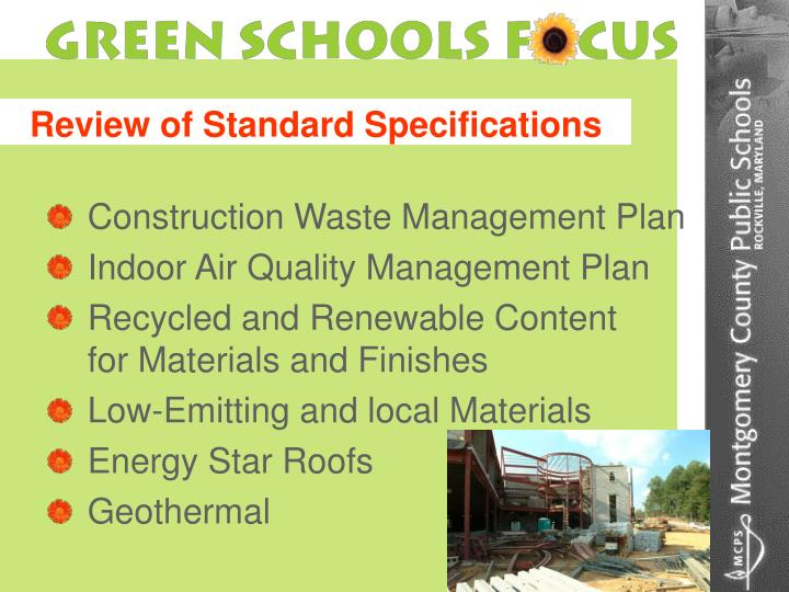 Review of Standard Specifications