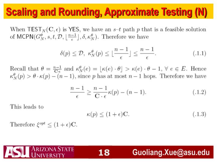 Scaling and Rounding, Approximate Testing (N)
