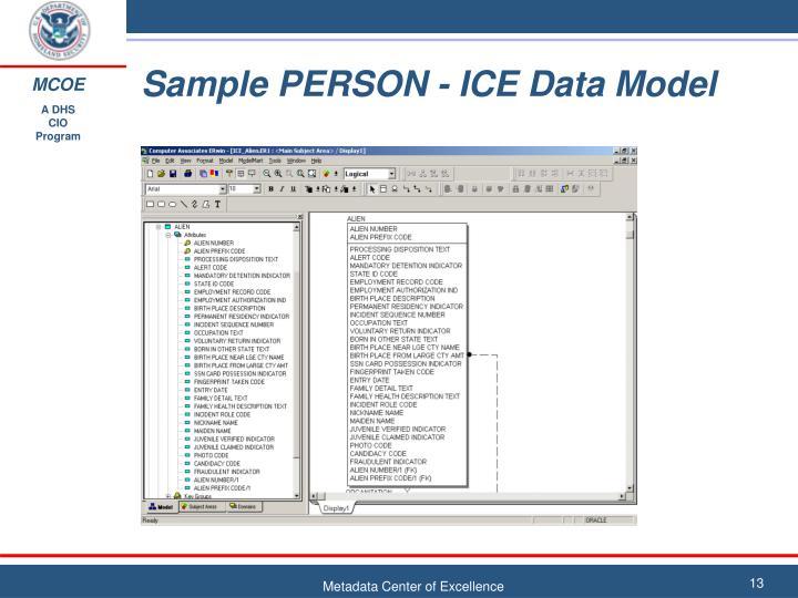 Sample PERSON - ICE Data Model
