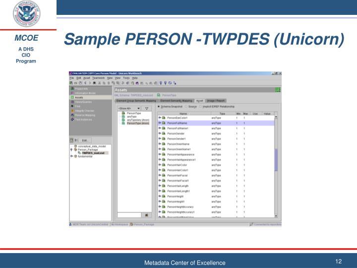 Sample PERSON -TWPDES (Unicorn)