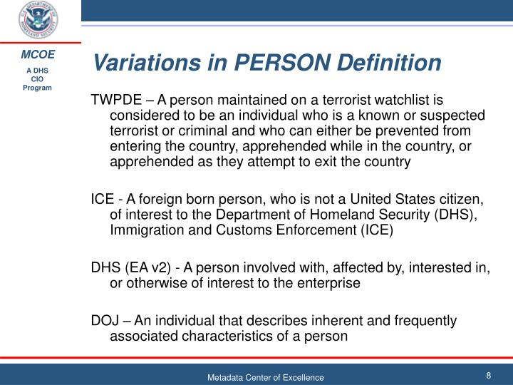 Variations in PERSON Definition