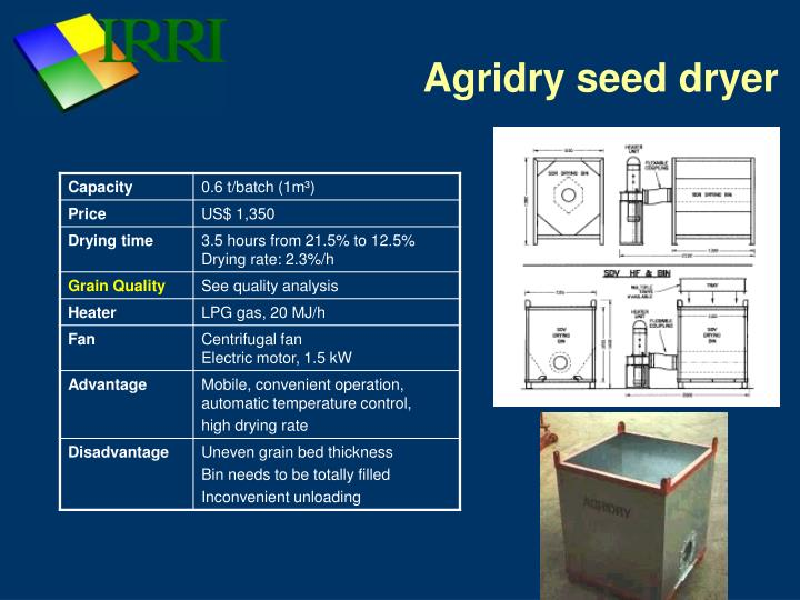 Agridry seed dryer