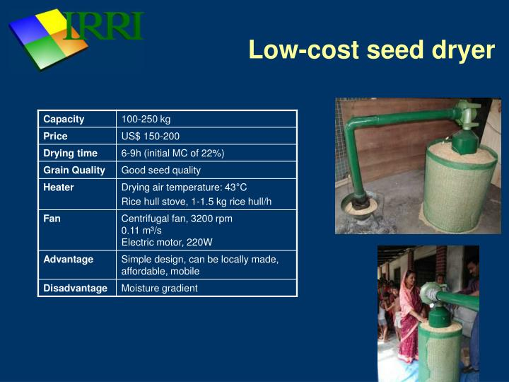 Low cost seed dryer