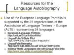 resources for the language autobiography