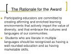 the rationale for the award