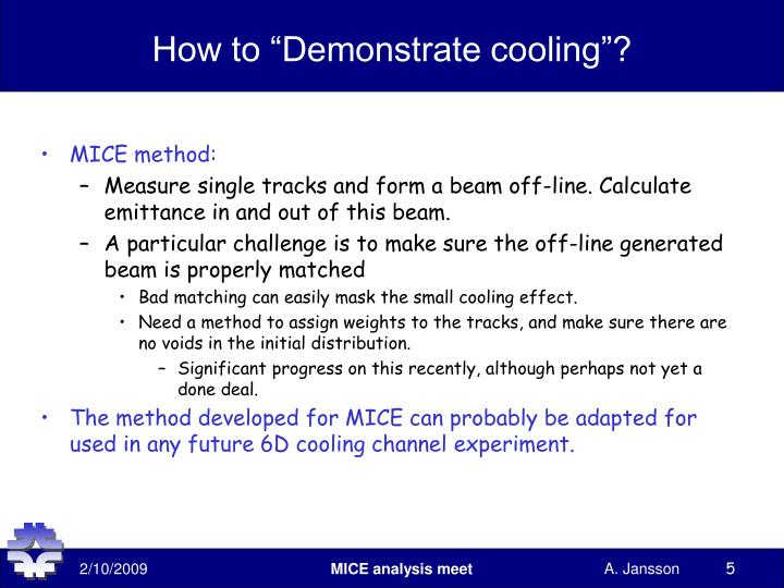 "How to ""Demonstrate cooling""?"