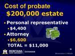 cost of probate 200 000 estate