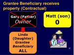grantee beneficiary receives property contractual
