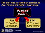 title to be held by beneficiary grantees as joint tenants with right of survivorship