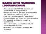 building on the foundation leadership seminars