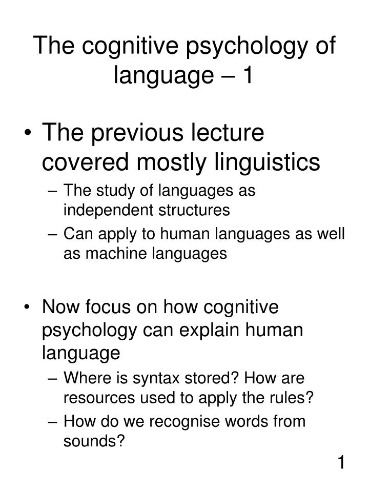 the cognitive psychology of language 1 n.