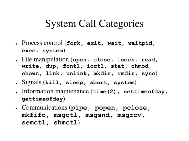 System Call Categories