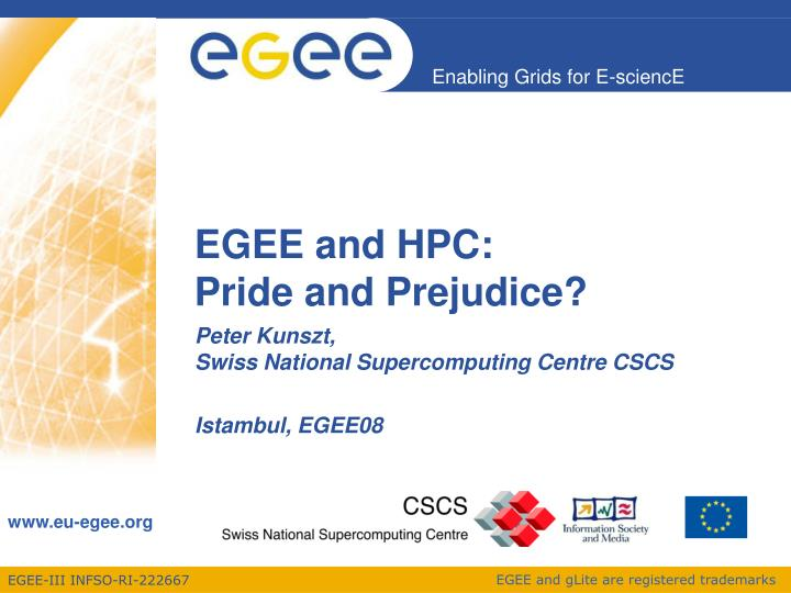 egee and hpc pride and prejudice n.