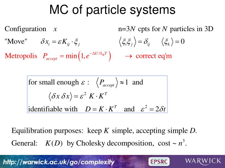 MC of particle systems