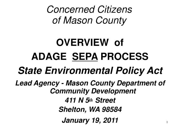 Concerned citizens of mason county