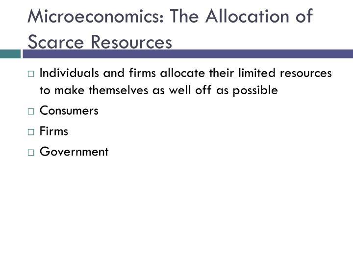 Microeconomics: The Allocation of Scarce Resources
