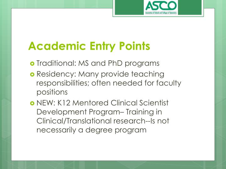 Academic Entry Points