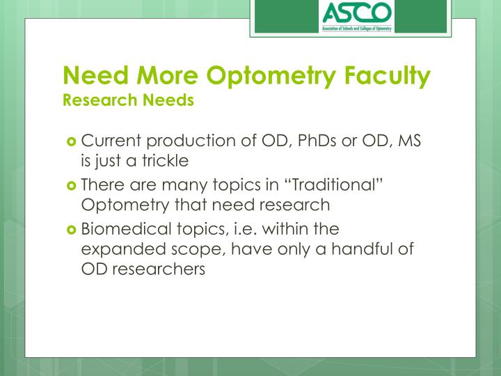Need more optometry faculty research needs