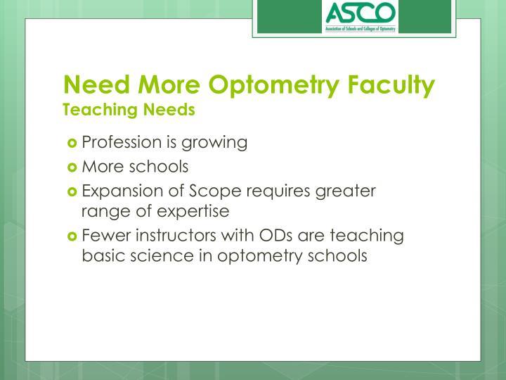 Need more optometry faculty teaching needs
