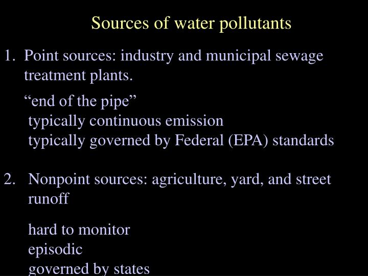 Sources of water pollutants