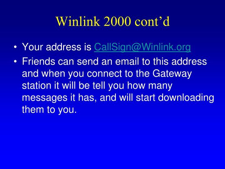 Winlink 2000 cont'd