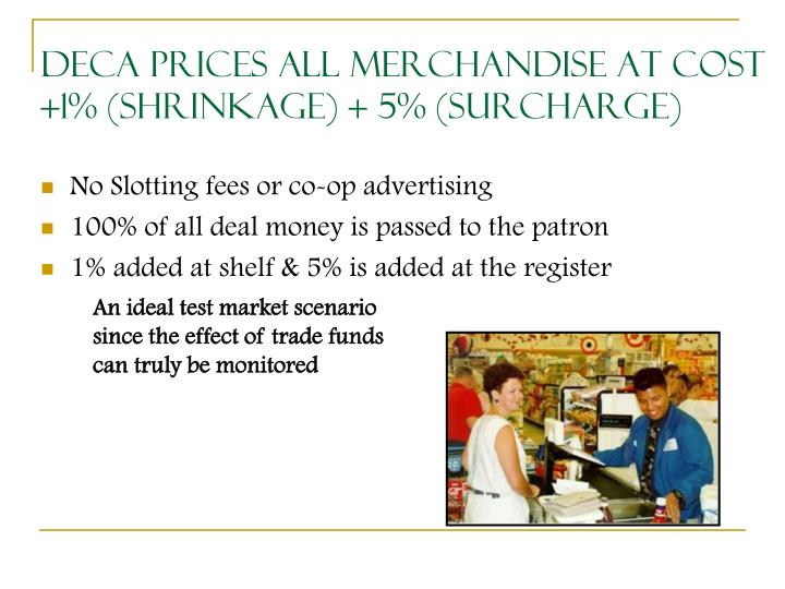 DeCA Prices All Merchandise at Cost +1% (shrinkage) + 5% (surcharge)