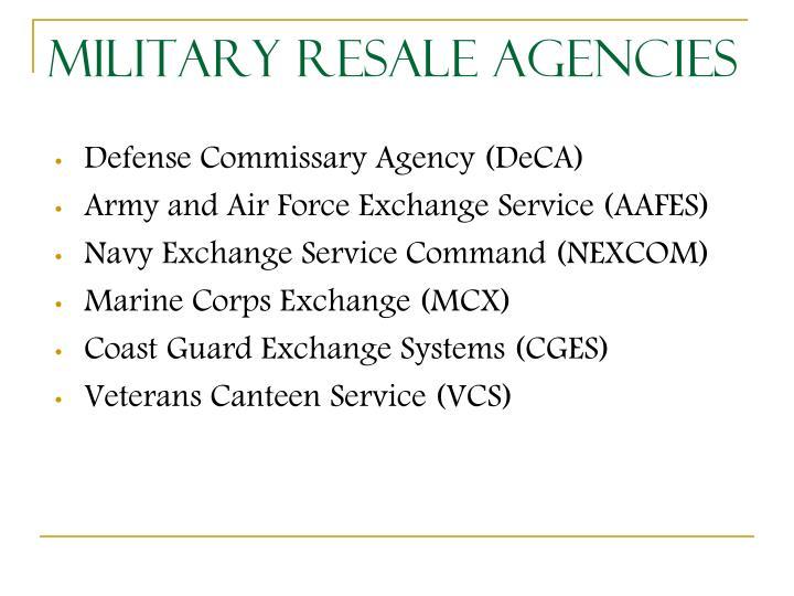 Military Resale Agencies