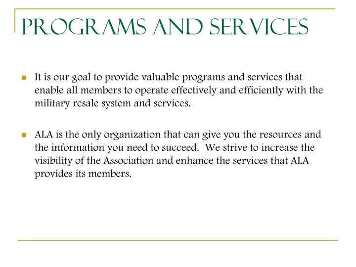Programs and Services