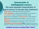 characteristic of self regulated learners