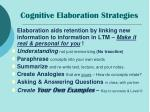 cognitive elaboration strategies