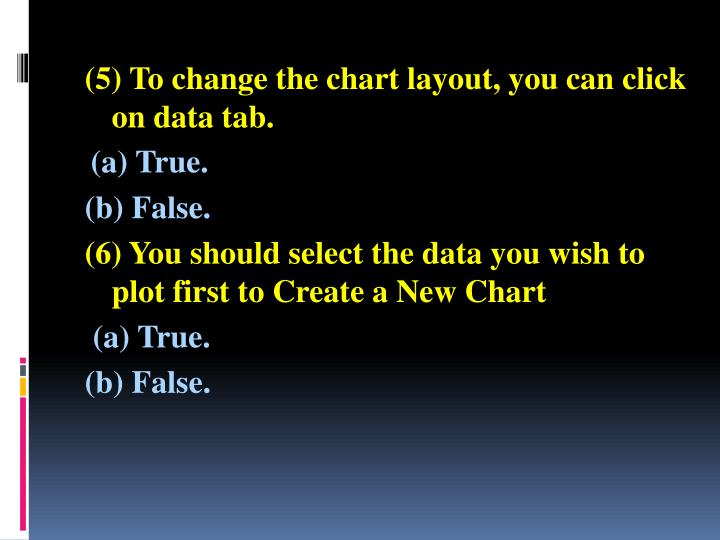 (5) To change the chart layout, you can click on data