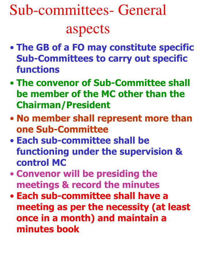 Sub-committees- General aspects