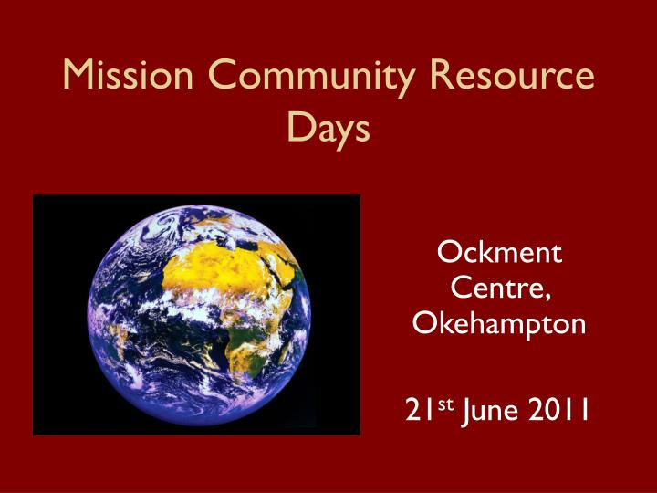 mission community resource days n.