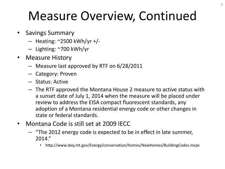 Measure overview continued