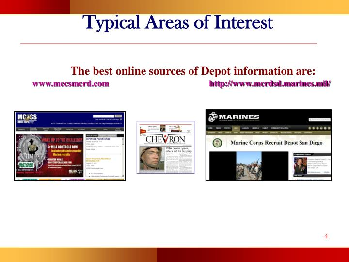 Typical Areas of Interest