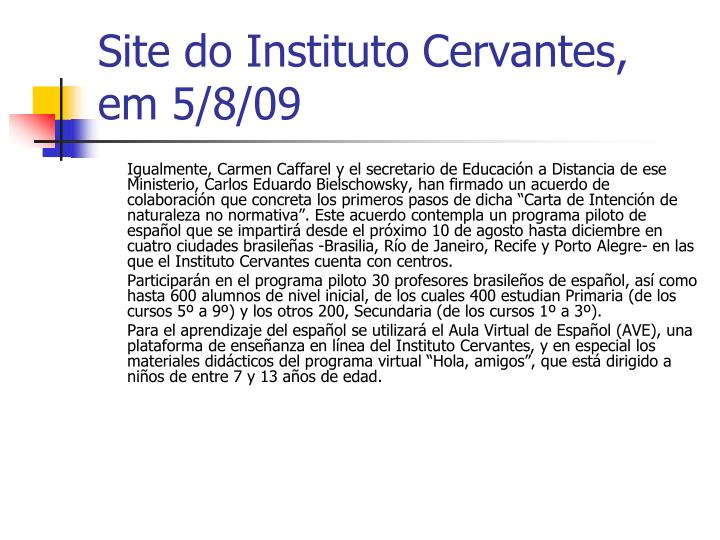 Site do Instituto Cervantes, em 5/8/09