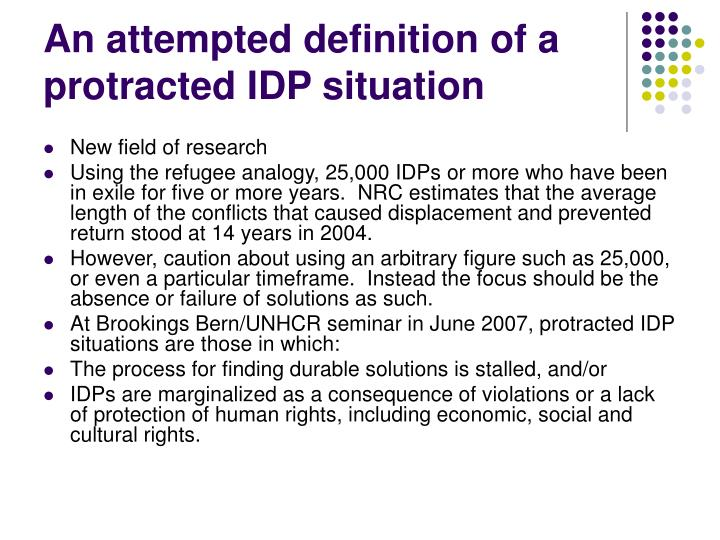 An attempted definition of a protracted IDP situation