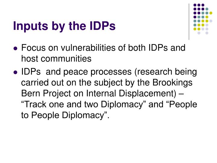 Inputs by the IDPs