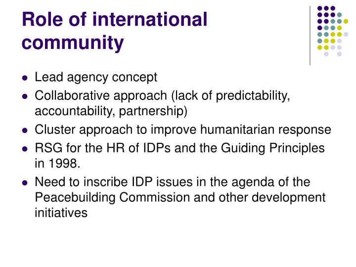 Role of international community