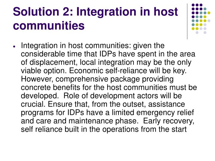 Solution 2: Integration in host communities