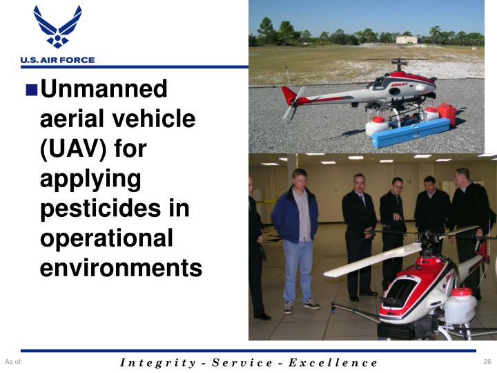 Unmanned aerial vehicle (UAV) for applying pesticides in operational environments