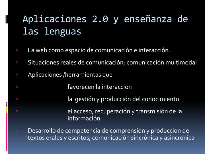 Aplicaciones 2.0 y enseñanza de las lenguas